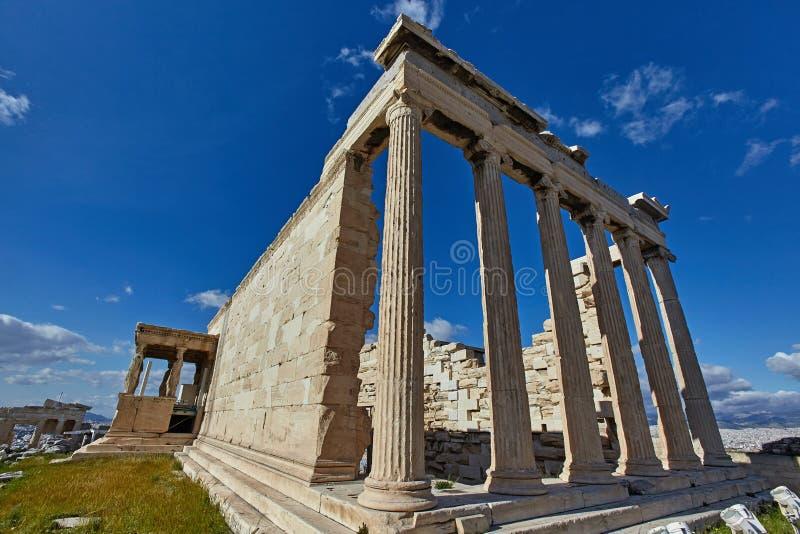Świątynia Erectheion, akropol, Ateny zdjęcie royalty free