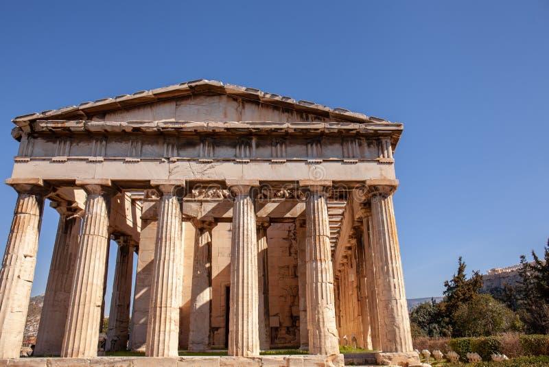 Świątynia Hephaestus athens Marzec, 6th 2019 obraz royalty free