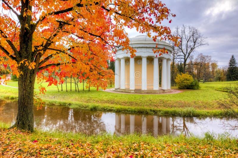 Świątynia przyjaźń w Pavlovsk parku podczas złotego spadku, święty Petersburg, Rosja fotografia royalty free