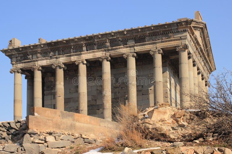 Świątynia słońce bóg Mihr blisko Garni w zimie (Mithra) obraz stock