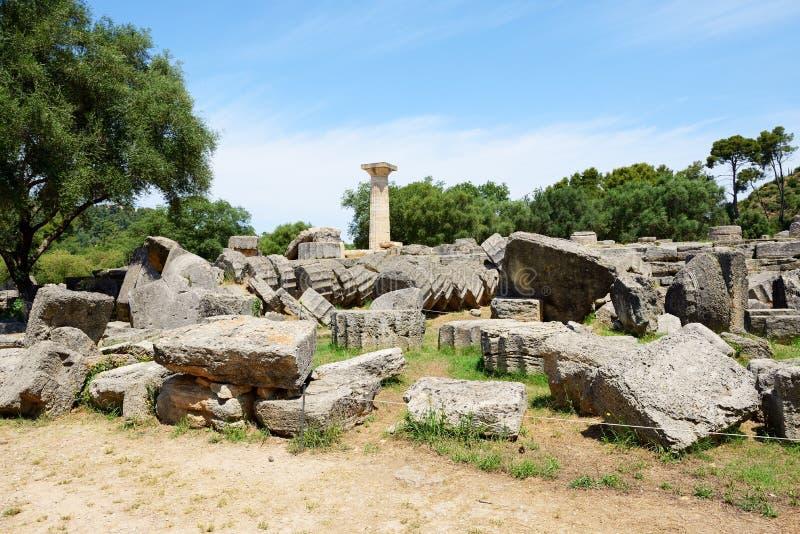 Świątynia Zeus ruiny w antyczny olimpia fotografia royalty free