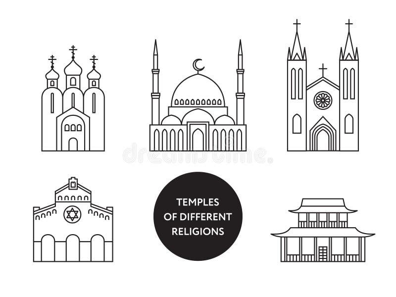 Świątynie światowe różne religie Infographics ilustracji