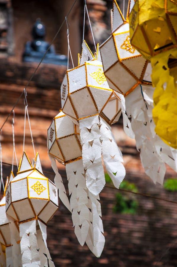 Świątynie Tajlandia azjata lampiony fotografia stock