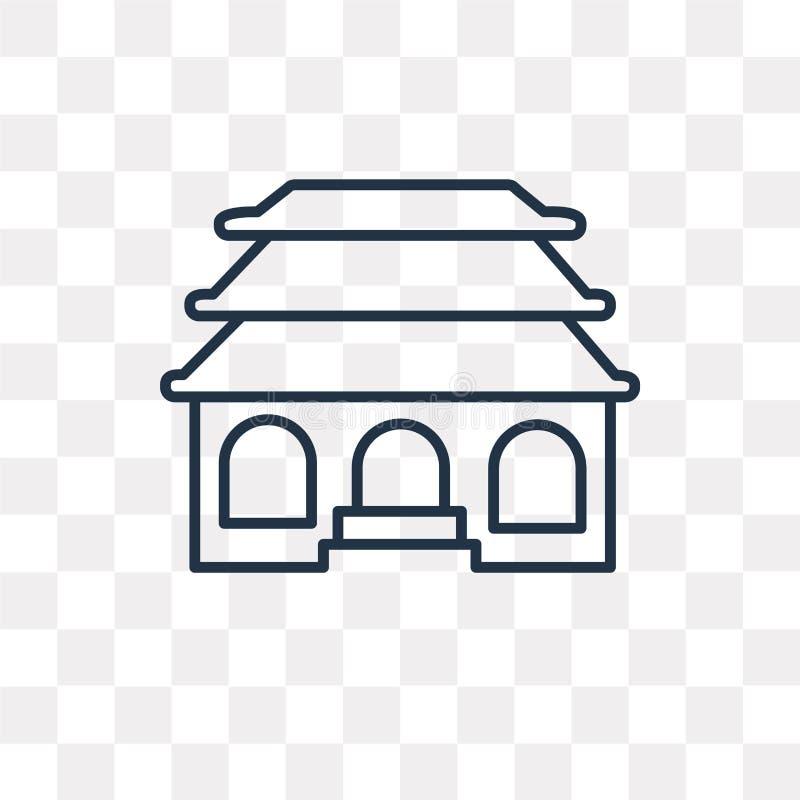 Świątynna wektorowa ikona odizolowywająca na przejrzystym tle, liniowy Te ilustracja wektor
