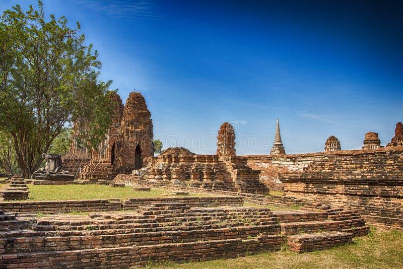 Świątynne ruiny, Ayutthaya & x28; Stary kapitał Thailand& x29; obraz stock