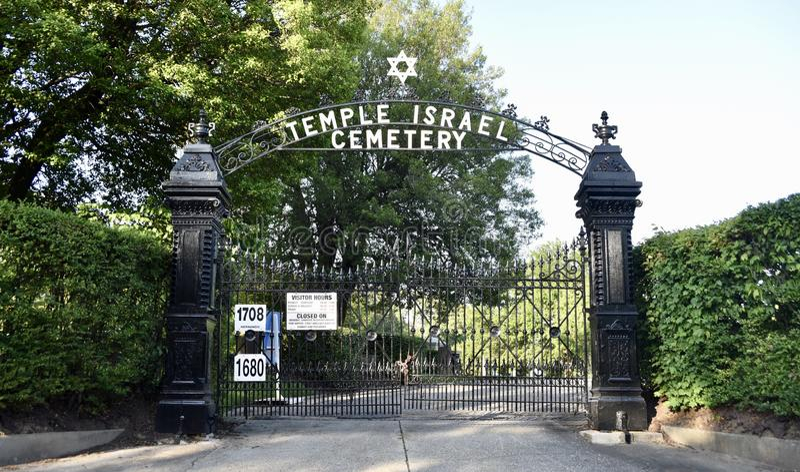 ?wi?tynnego Izrael cmentarza Zamkni?ta Frontowa brama, Memphis, TN obraz royalty free