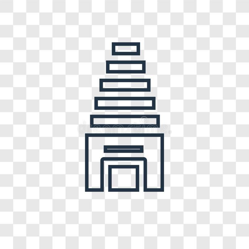 Świątynnego pojęcia wektorowa liniowa ikona odizolowywająca na przejrzystym backgr royalty ilustracja