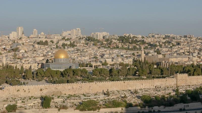 Świątynnej góry szeroki widok od mt oliwek w Jerusalem fotografia royalty free