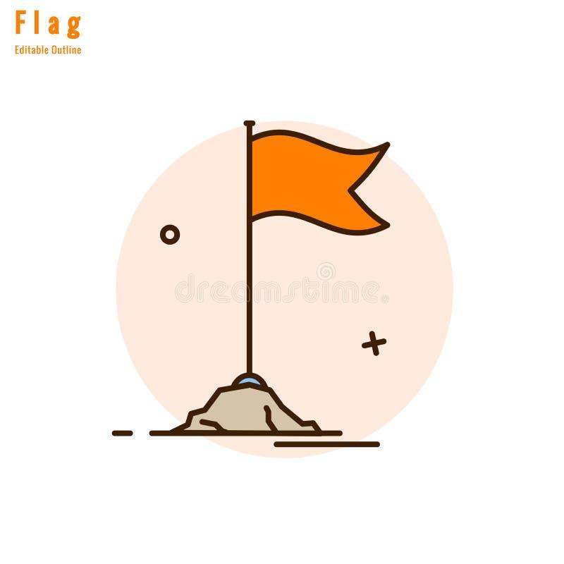Świątynnej pomarańcze flaga, Zaznacza ikonę, Symbolizuje, religijną kulturę i duchowość, Cienki kreskowy editable uderzenie ilustracji