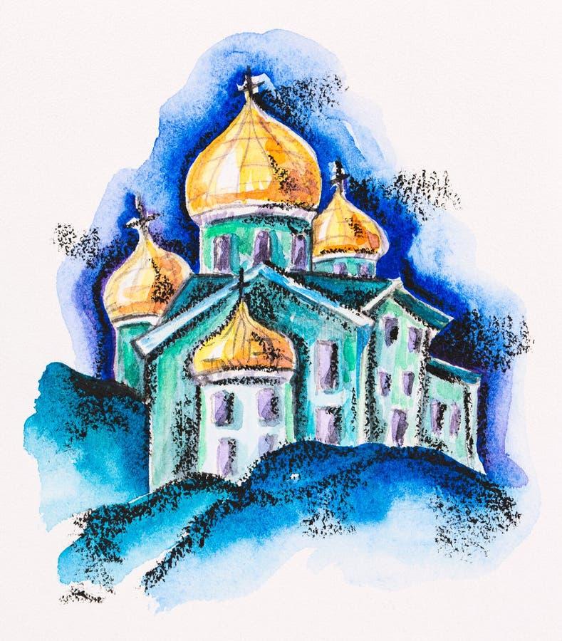 Świątynny budynek z złotym cupola ilustracji