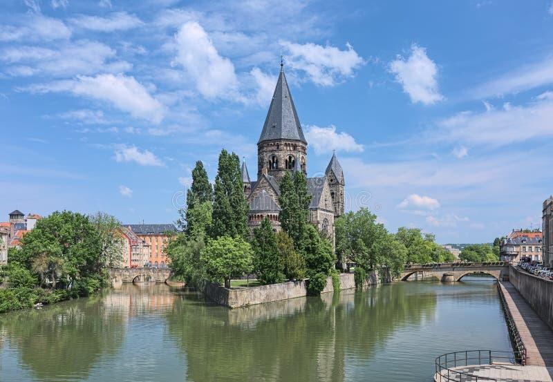 Świątynny Neuf, Protestancki miasto kościół w Metz, Francja fotografia royalty free