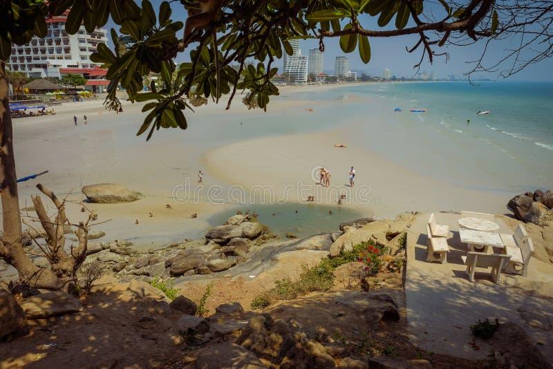 Świątynny punkt widzenia Hua Hin plaża obraz royalty free