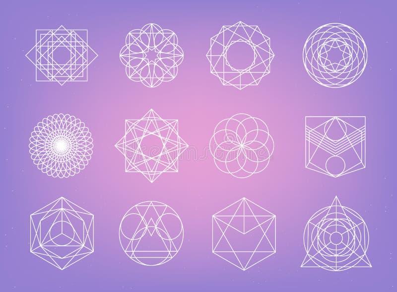 Święci geometria symbole inkasowi modniś, abstrakt, alchemia, sprawy duchowe, tajemniczy elementy ustawiający ilustracja wektor