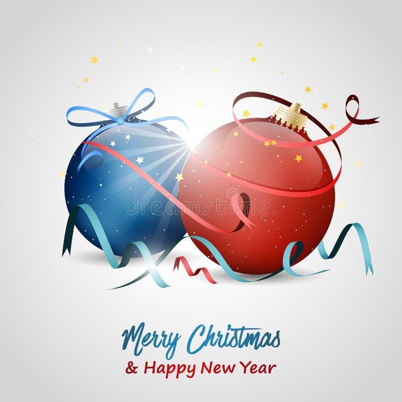 Święta życzeń nowego roku również zwrócić corel ilustracji wektora Baubles, gwiazdy, łęk, faborki i confetti, royalty ilustracja
