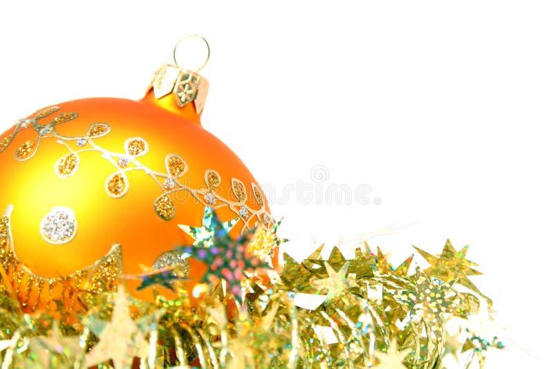 Święta 5 kuli kawałków świecidełka kolor żółty obraz royalty free