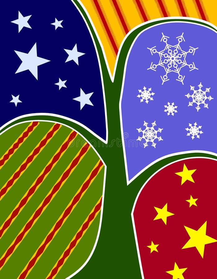 Święta abstraktów kolaż drzewo karty royalty ilustracja
