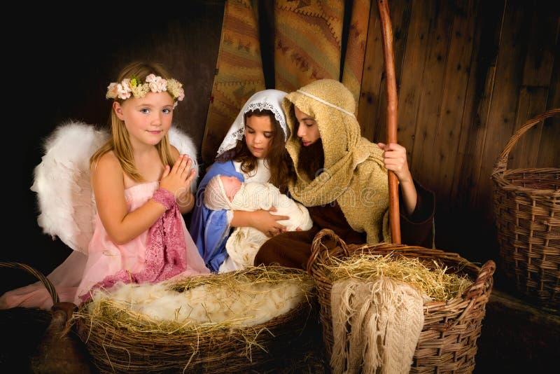 Święta anioła i narodzenia jezusa scena fotografia stock