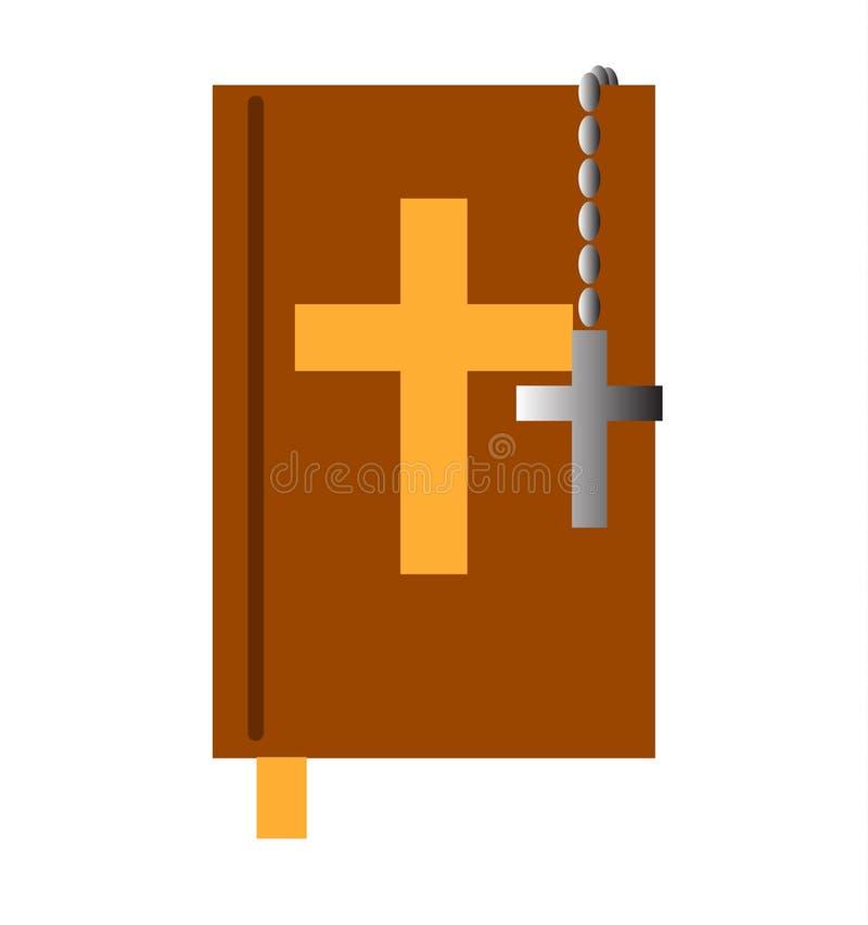 Święta biblia z krzyżem royalty ilustracja