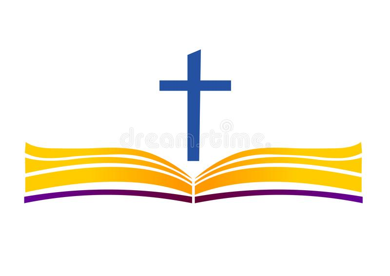 Święta biblia z krzyżem Otwiera książkę i krzyżuje royalty ilustracja