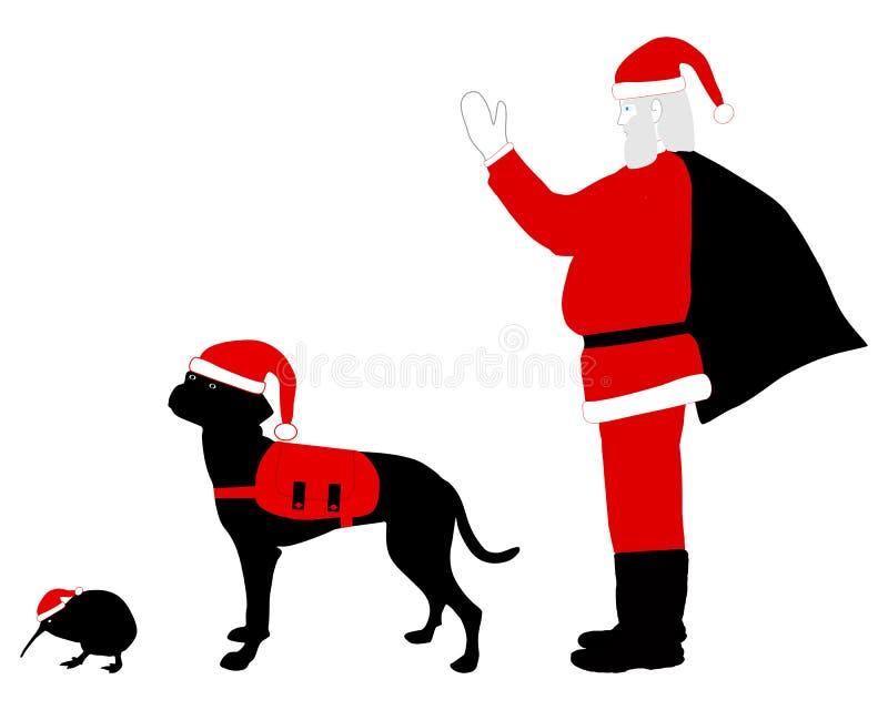 święta bożego Claus ubrania psi kiwi Mikołaja ilustracja wektor