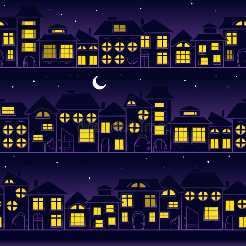 święta bożego miasta wróżki Łotwy nocy prowincjonału podobnej wkrótce bajka Evening bezszwowego krajobraz - domy w miasteczku, tł royalty ilustracja