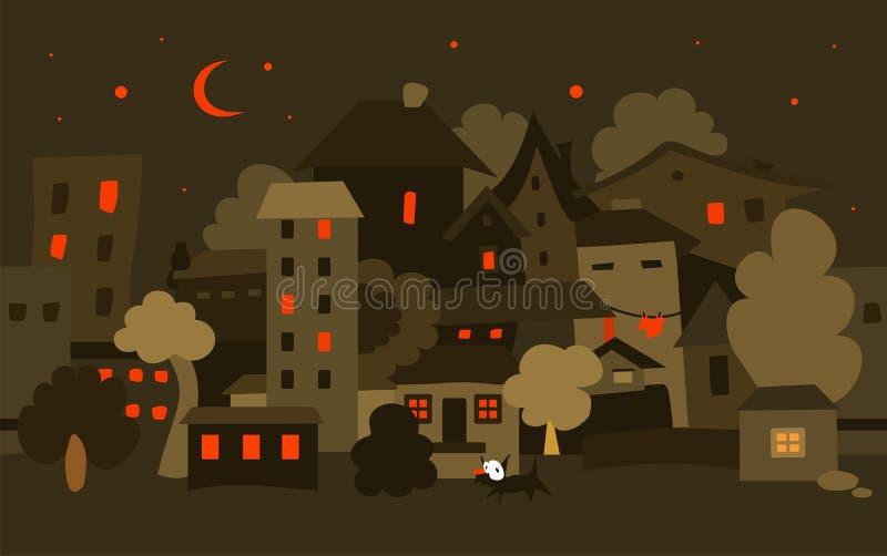 święta bożego miasta wróżki Łotwy nocy prowincjonału podobnej wkrótce bajka wektor ilustracji