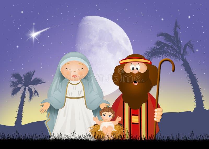 święta bożego narodzenia jezusa sceny ilustracyjny wektora ilustracja wektor