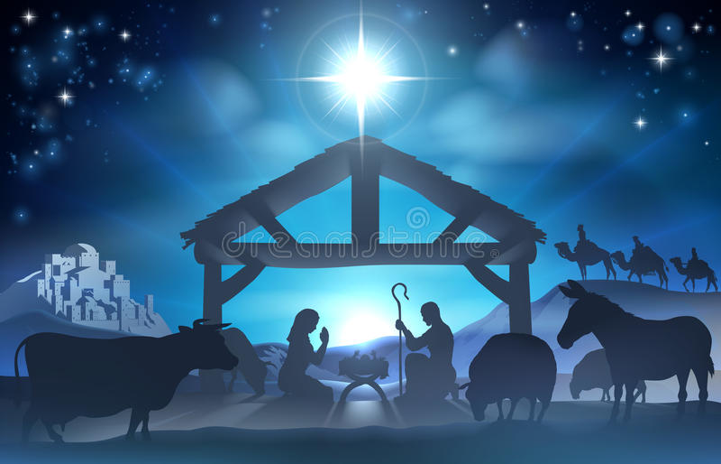 święta bożego narodzenia jezusa sceny ilustracyjny wektora royalty ilustracja