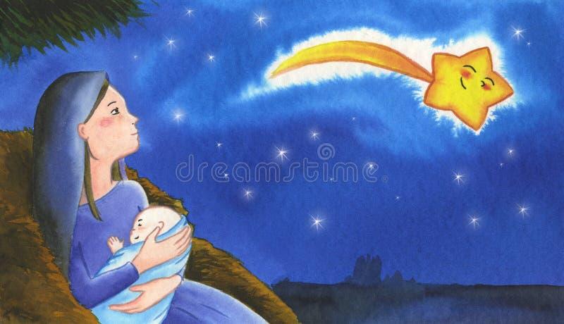 święta bożego narodzenia obraz jezusa royalty ilustracja