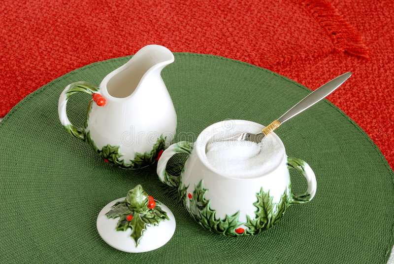 Święta creameru misek wakacyjne rocznik cukru zdjęcie stock