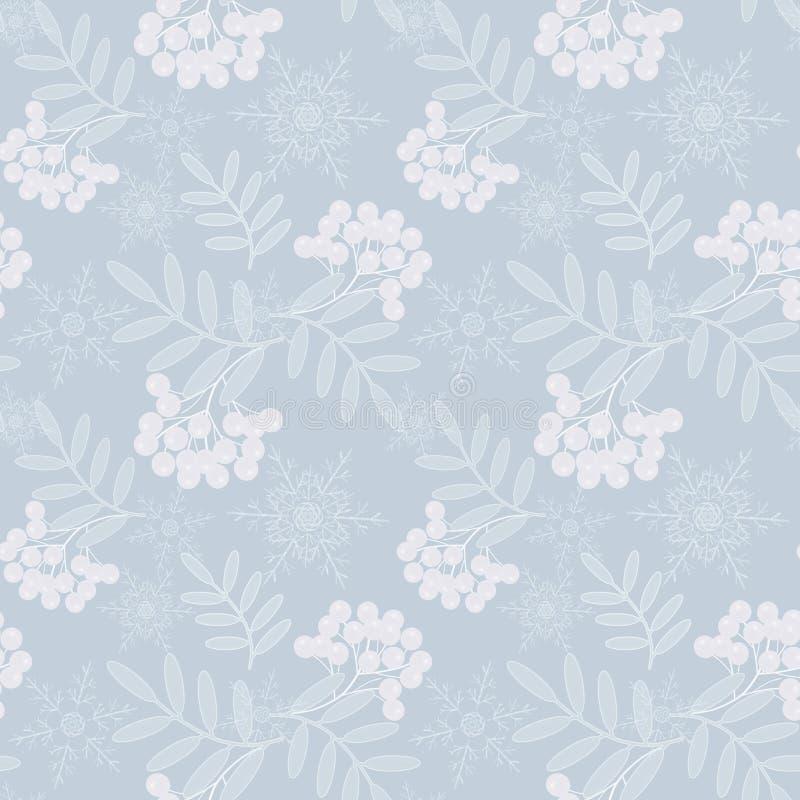 Święta deseniują bezszwowego Biali płatek śniegu, halny popiół na bławym tle royalty ilustracja