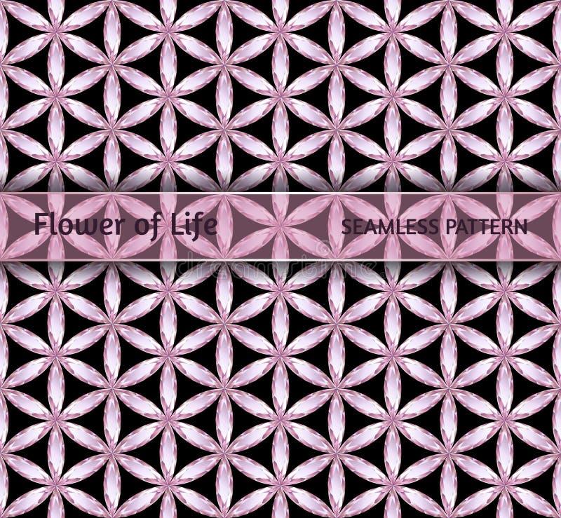 Święta geometria, diamentowy bezszwowy deseniowy ` kwiat życia ` ilustracji