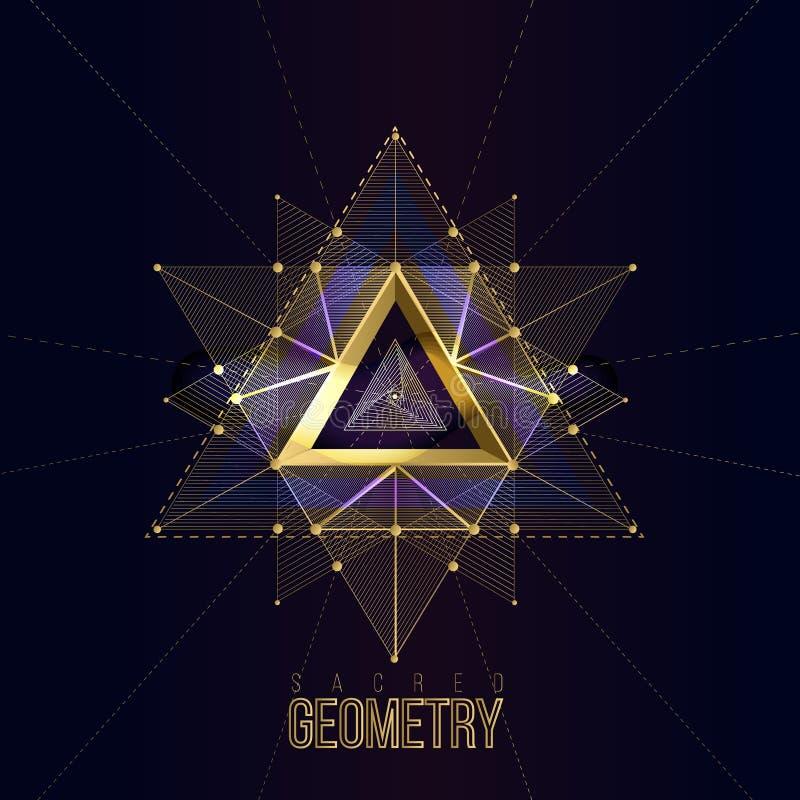 Święta geometria tworzy na astronautycznym tle, kształty złociste linie dla loga royalty ilustracja