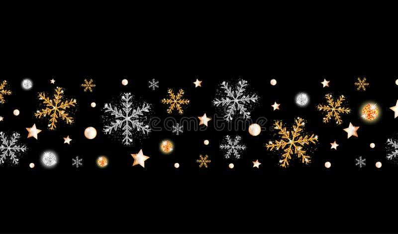 Święta granica, szczęśliwy Nowy Rok Śnieżne płatki, gwiazdy i jasne kulki na czarnym tle Dekoracja świąteczna ilustracji