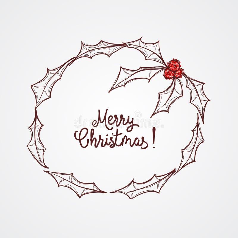 Święta jagoda Boże Narodzenie wianek Czerwone błyskotliwość jagody Nakreślenie ilustracja ilustracji