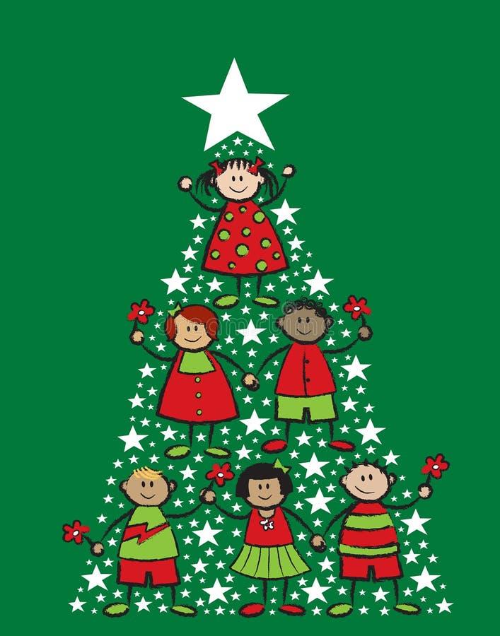 Święta kreskówki dzieci tree ilustracji