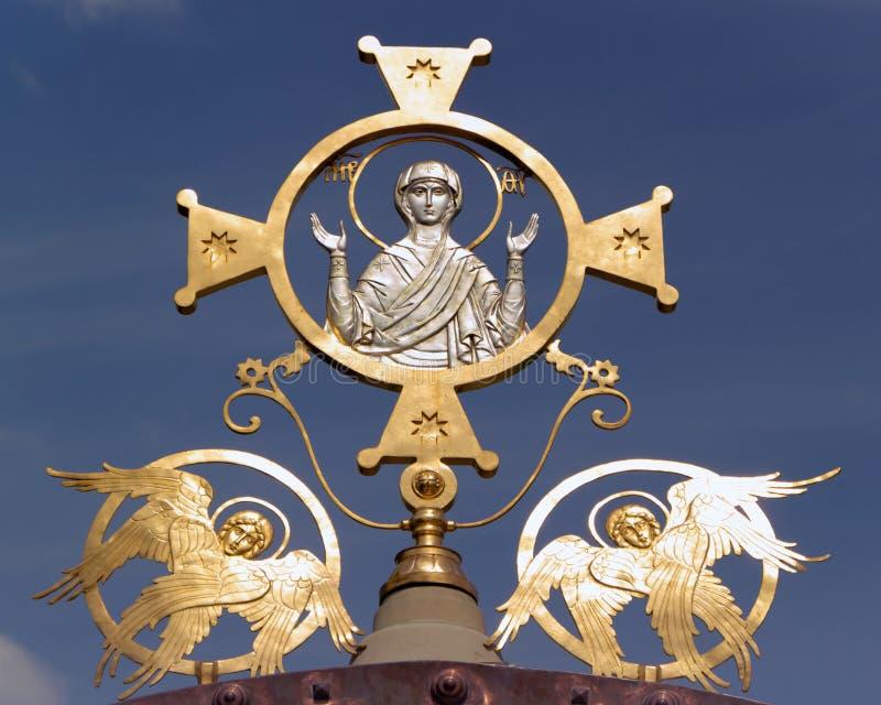 Święta matka bóg z dwa aniołami zdjęcia stock