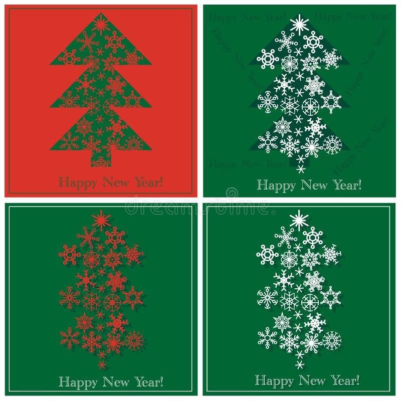 Święta miecielic wykonują ustanawia futerkowego snowfiake drzewa, royalty ilustracja