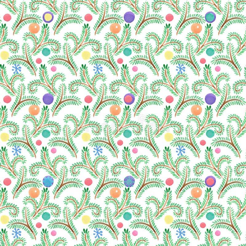 Święta moje portfolio drzewna wersja nosicieli Jodła wzór bezszwowy wzoru Święta dekorują odznaczenie domowych świeżych pomysłów  ilustracja wektor