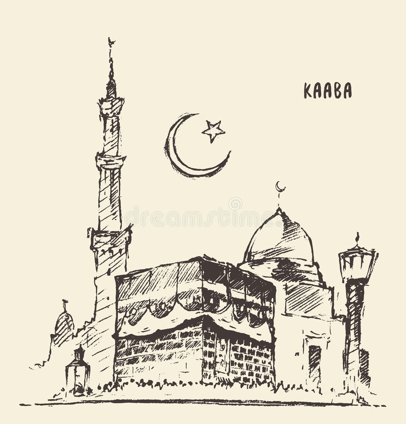 Święta muzułmańska ilustracja rysujący Kaaba mekki nakreślenie royalty ilustracja