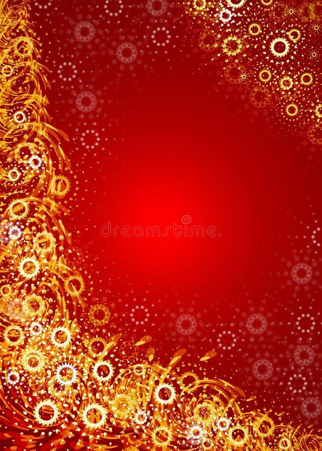 Święta obramiają złotą czerwony ilustracja wektor