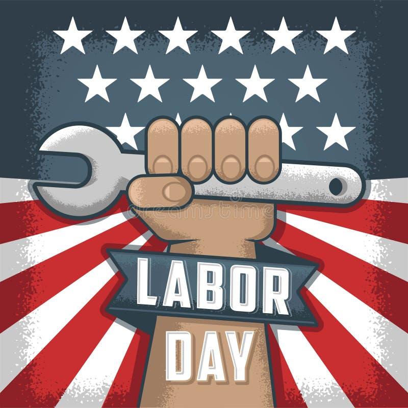 Święta Pracy flayer Amerykański wakacje Pracujący mężczyzna trzyma narzędzie ilustracja wektor
