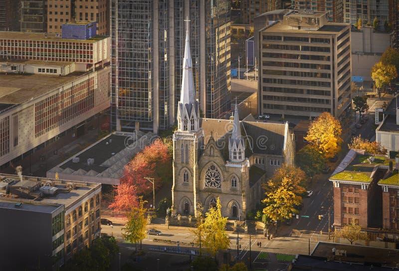 Święta Różańcowa katedra, W centrum Vancouver obrazy stock