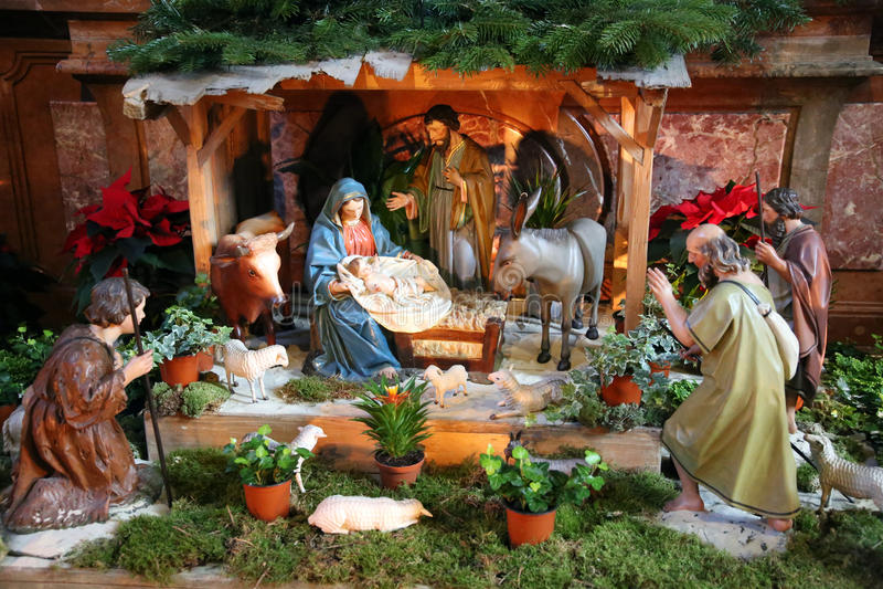 Święta rodzina dziecko Jezus maryja dziewica Joseph wewnątrz i święty, zdjęcie royalty free
