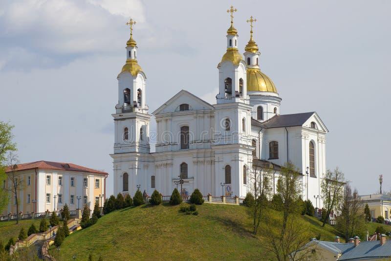 Święta wniebowzięcie katedra w górę, święto pracy Vitebsk, Bia?oru? zdjęcia royalty free