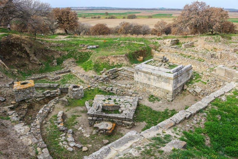 Święte Miejsce ruiny w Troja Turcja zdjęcia royalty free