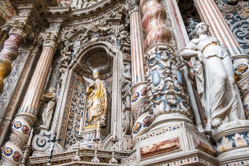 Świętego Catherine statuy w kościół w Palermo Włochy obraz royalty free