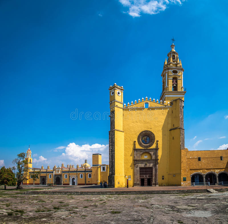 Świętego Gabriel archanioła friary Convento De San Gabriel, Cholula -, Puebla, Meksyk fotografia stock