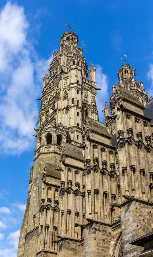 Świętego Gatien katedra w wycieczkach turysycznych, Francja zdjęcia royalty free