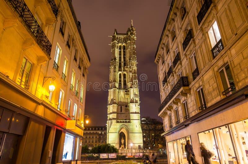 Świętego Jacques wierza w Paryż zdjęcia royalty free